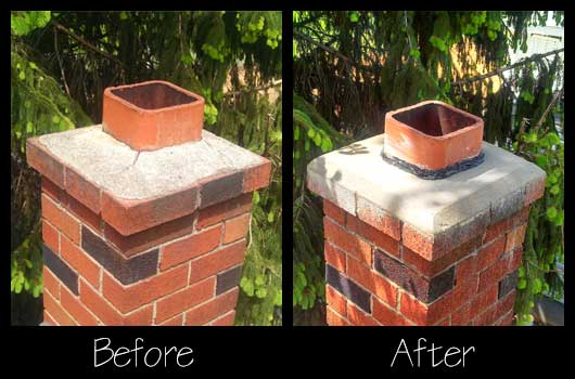 Chimney Repairs | Before and After Chimney Mortar Cap