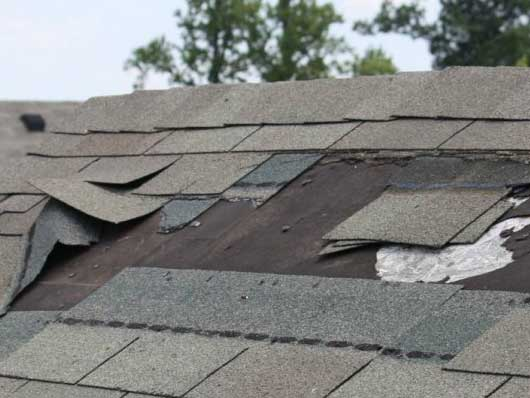 Missing & damaged shingles due to high wind